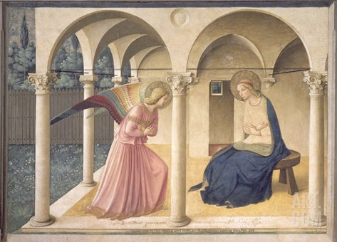 The Annunciation, circa 1438-45 Stretched Canvas Print