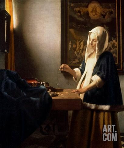 Woman Holding a Balance, circa 1664 Stretched Canvas Print