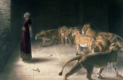 Daniel in the Lions Den, Mezzotint by J. B. Pratt, with Hand Colouring Stretched Canvas Print
