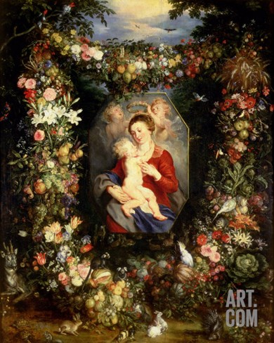 Virgin and Child with Fruits and Flowers Stretched Canvas Print