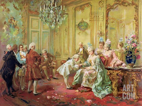 The Presentation of the Young Mozart to Mme De Pompadour at Versailles in 1763 Stretched Canvas Print