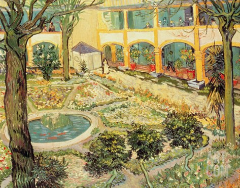 The Asylum Garden at Arles, c.1889 Stretched Canvas Print