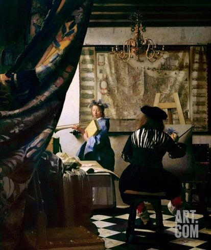 The Painter in His Studio 1665-66 Stretched Canvas Print