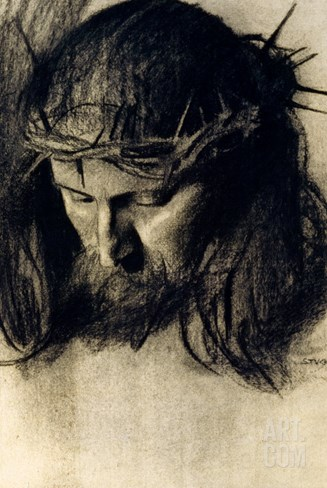 Head of Christ, circa 1890 Stretched Canvas Print