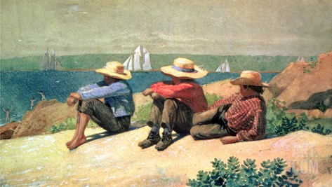 On the Beach, 1875 Stretched Canvas Print