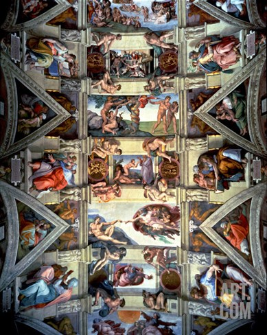 Sistine Chapel Ceiling and Lunettes, 1508-12 Stretched Canvas Print