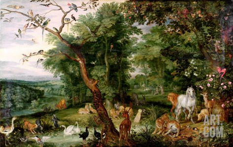 The Garden of Eden, in the Background the Temptation Stretched Canvas Print