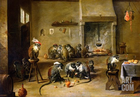 Monkeys in a Kitchen, circa 1645 Stretched Canvas Print