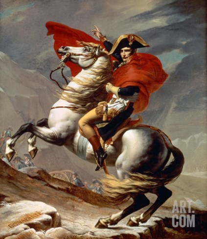 Napoleon Crossing the Alps Stretched Canvas Print