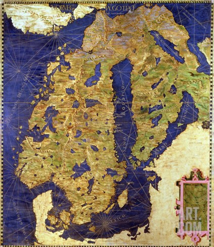 "Map of Sixteenth Century Scandinavia, from the ""Sala Delle Carte Geografiche"" Stretched Canvas Print"
