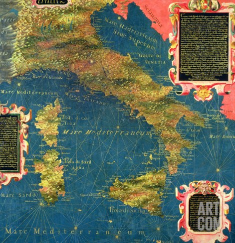 "Map of Sixteenth Century Italy, from the ""Sala Delle Carte Geografiche"" Stretched Canvas Print"