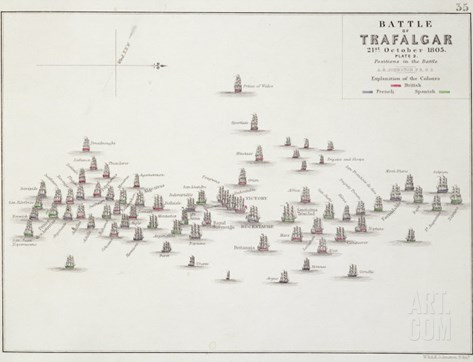 The Battle of Trafalgar, 21st October 1805, Positions in the Battle, circa 1830s Stretched Canvas Print