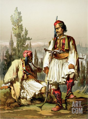 Albanians, Mercenaries in the Ottoman Army, Published by Lemercier, 1857 Stretched Canvas Print