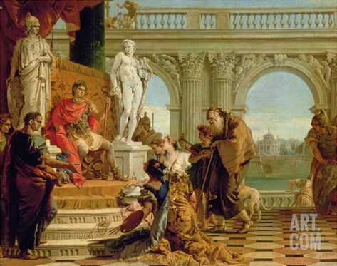 Maecenas Presenting the Liberal Arts to the Emperor Augustus (63Bc-14Ad) C.1745 (Oil on Canvas) Stretched Canvas Print