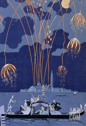 "Fireworks in Venice, Illustration for ""Fetes Galantes"" by Paul Verlaine 1924 Stretched Canvas Print"