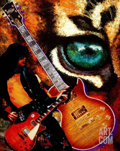 The Player - Guitar Stretched Canvas Print