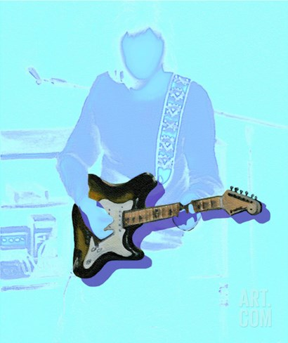 Neon guitar player Stretched Canvas Print