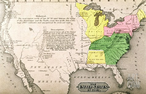 Map of the United States in 1803 Stretched Canvas Print