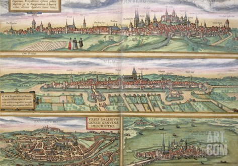 "Map of Nurenburg, Ulm, and Saltzburg, from ""Civitates Orbis Terrarum"" by Braun and Hogenberg, 1572 Stretched Canvas Print"