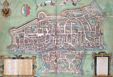 "Map of Augsburg, from ""Civitates Orbis Terrarum"" by Georg Braun and Frans Hogenberg, circa 1572 Stretched Canvas Print"