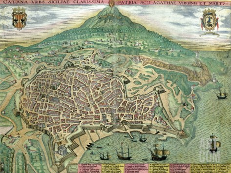 "Map of Catania, from ""Civitates Orbis Terrarum"" by Georg Braun and Frans Hogenberg, circa 1572 Stretched Canvas Print"