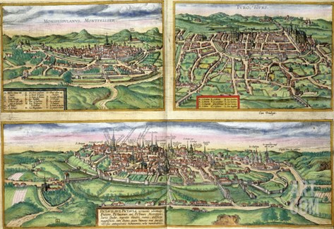 Map of Montpellier, Tours, and Poitiers, from Civitates Orbis Terrarum by Braun and Hogenberg, 1572 Stretched Canvas Print