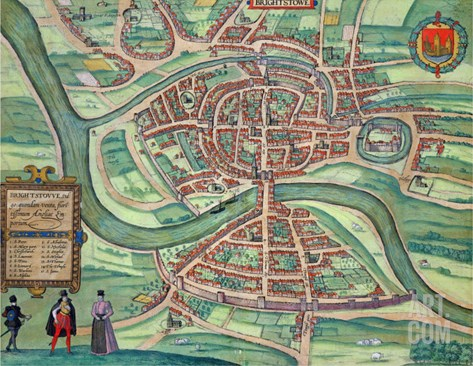 "Map of Bristol, from ""Civitates Orbis Terrarum"" by Georg Braun and Frans Hogenberg circa 1572-1617 Stretched Canvas Print"