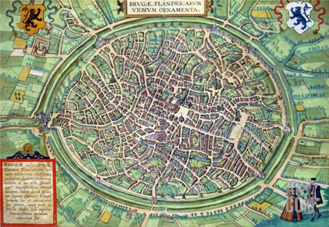 """Town Plan of Bruges, from """"Civitates Orbis Terrarum"""" by Georg Braun and Frans Hogenburg, circa 1572 Stretched Canvas Print"""