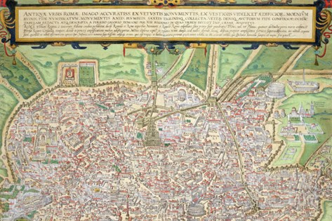 "Map of Rome, from ""Civitates Orbis Terrarum"" by Georg Braun and Frans Hogenberg circa 1572-1617 Stretched Canvas Print"