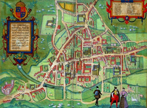 "Map of Cambridge, from ""Civitates Orbis Terrarum"" by Georg Braun and Frans Hogenberg, circa 1572 Stretched Canvas Print"