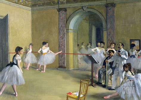 The Dance Foyer at the Opera on the Rue Le Peletier, 1872 Stretched Canvas Print