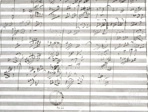 Score for the 3rd Movement of the 5th Symphony Stretched Canvas Print