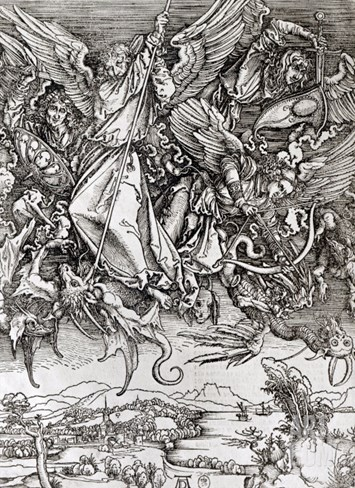 St. Michael and the Dragon, from a Latin Edition, 1511 Stretched Canvas Print