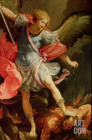 The Archangel Michael Defeating Satan Stretched Canvas Print