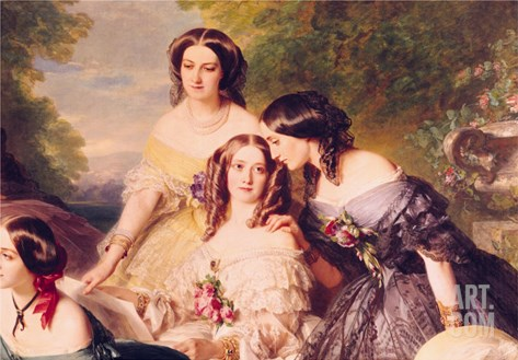Empress Eugenie and Her Ladies in Waiting, Detail of Baronness de Malaret Stretched Canvas Print