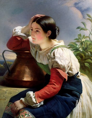 Young Italian at the Well, circa 1833-34 Stretched Canvas Print