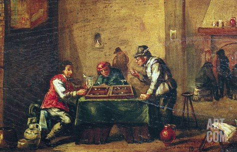 Men Playing Backgammon in a Tavern Stretched Canvas Print