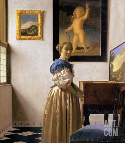 Lady Standing at the Virginal, circa 1672-73 Stretched Canvas Print