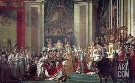 Consecration of the Emperor Napoleon and Coronation of Empress Josephine, 2nd December 1804, 1806-7 Stretched Canvas Print