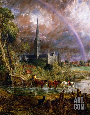 Salisbury Cathedral from the Meadows, 1831 Stretched Canvas Print