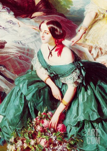 Empress Eugenie and Her Ladies in Waiting, Detail of the Marquise of Montebello, 1855 Stretched Canvas Print