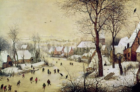 Winter Landscape with Skaters and a Bird Trap, 1565 Stretched Canvas Print