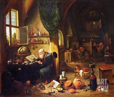 An Alchemist in His Workshop Stretched Canvas Print