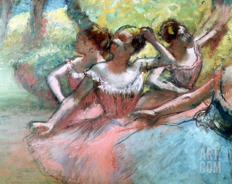 Four Ballerinas on the Stage Stretched Canvas Print