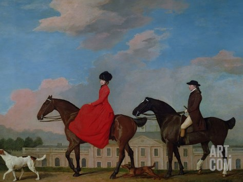 John and Sophia Musters Riding at Colwick Hall, 1777 Stretched Canvas Print