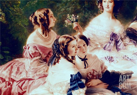 Empress Eugenie and Her Ladies in Waiting, Detail of the Princess of Essling Stretched Canvas Print