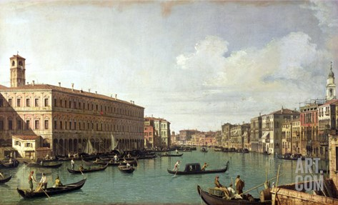 The Grand Canal from the Rialto Bridge Stretched Canvas Print