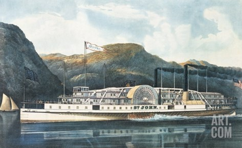 "The Hudson River Steamboat ""St. John"" Stretched Canvas Print"