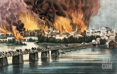 The Fall of Richmond, Virginia, 2nd April 1865 Stretched Canvas Print