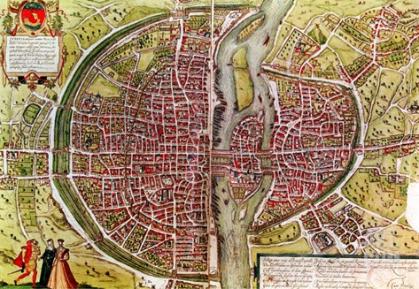 "Paris Map from ""Civitates Orbis Terrarrum"" by Georg Braun and Franz Hogenbergh, French, 1572-1617 Stretched Canvas Print"
